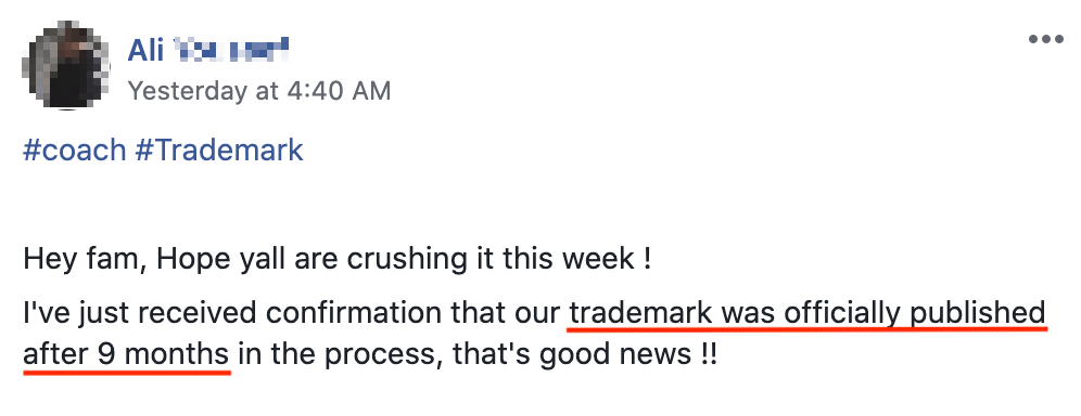 Ali - trademarked in 9 months