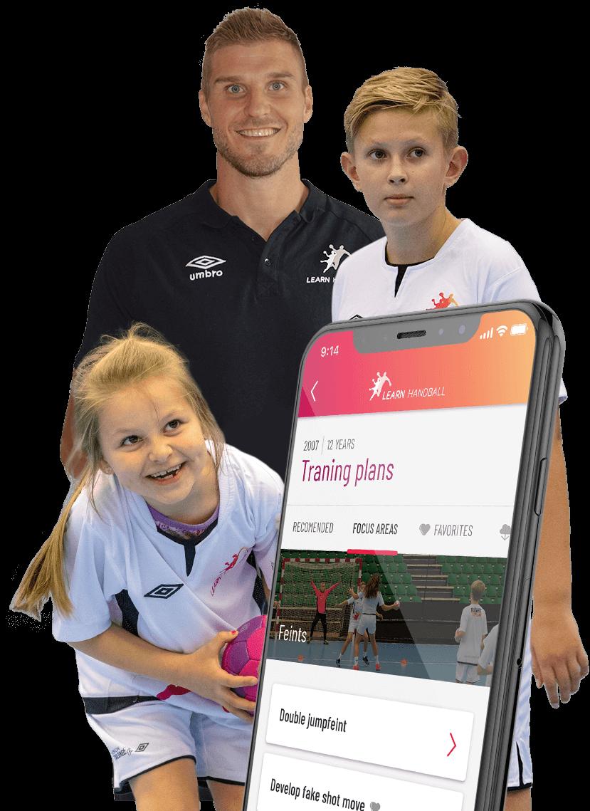 Bjarte Myrhol og barn som trener håndball