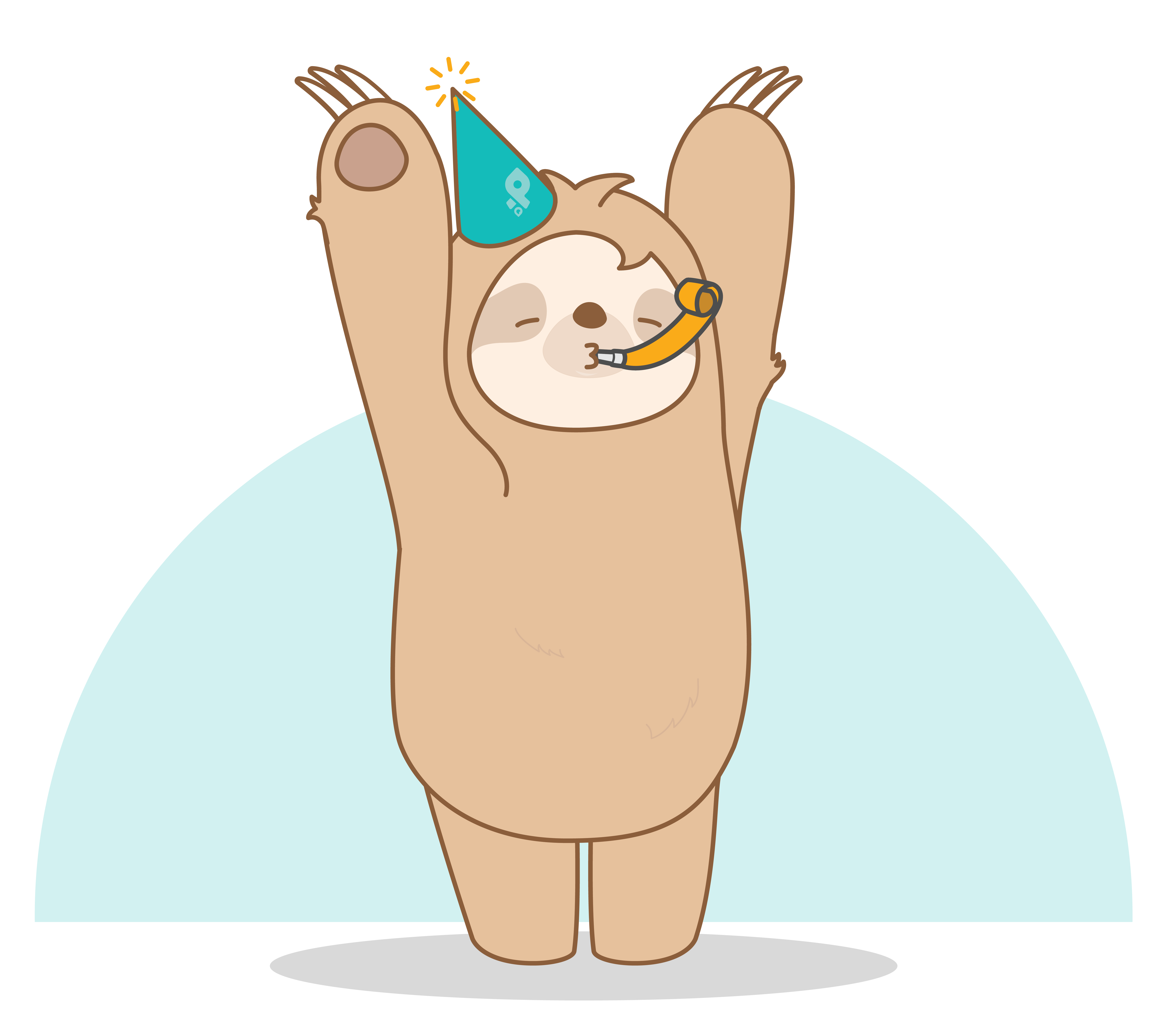 Dash the sloth, who is Procurify's mascot is celebrating with a party hat and whistle