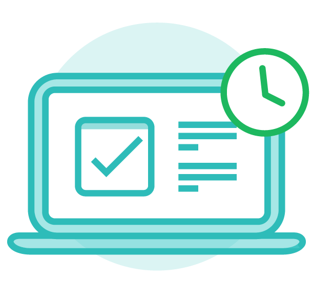 Icon of a laptop with a checkmark on the screen and a clock, used to depict saving time through centralized workflows