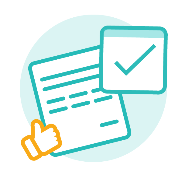 Icon of a paper document, a checkmark and a thumbs-up, used to depict a simple and user-friendly experience