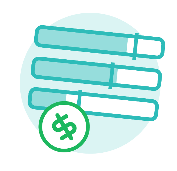Icon of three bars that are coloured part-way and a dollar sign, used to depict spend controls