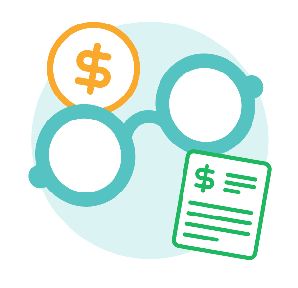 Icon of a pair of glasses with a dollar sign and a purchase order, used to depict gaining visibility over spend