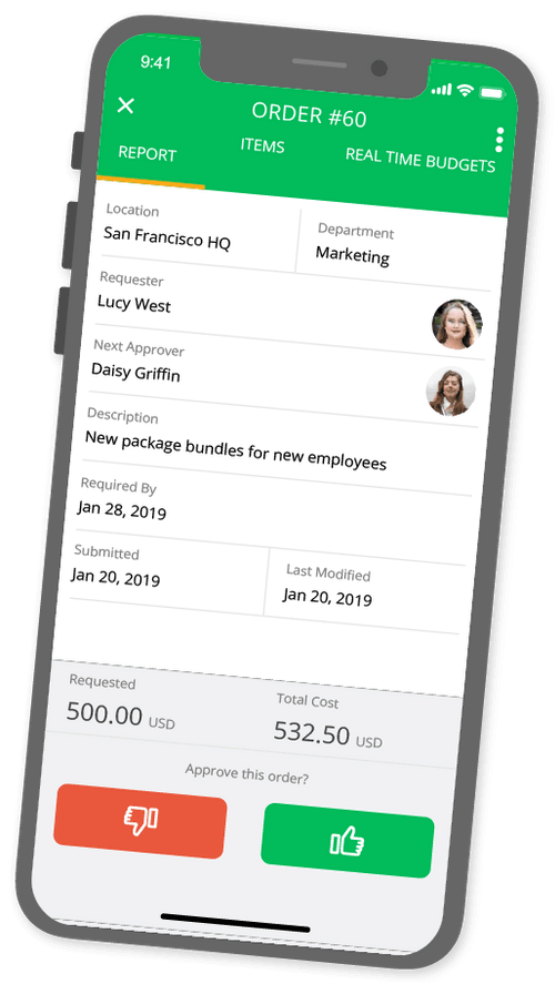 Procurement mobile app