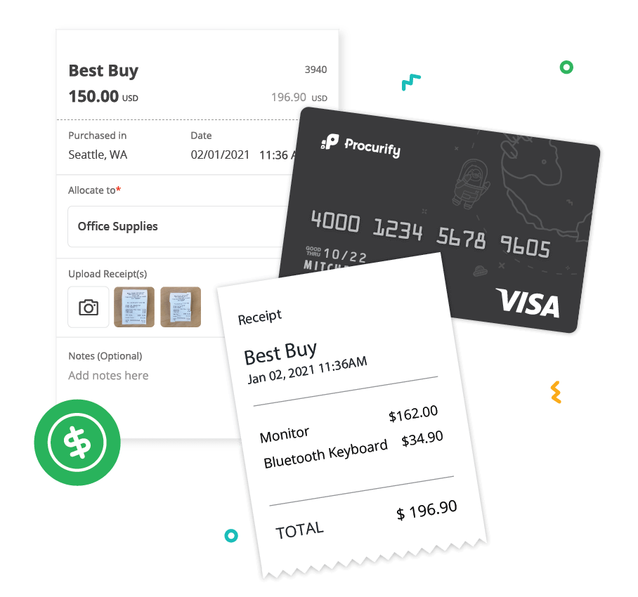 Illustration of black credit card and two receipts depicting increased accountability for company spending on spending cards page