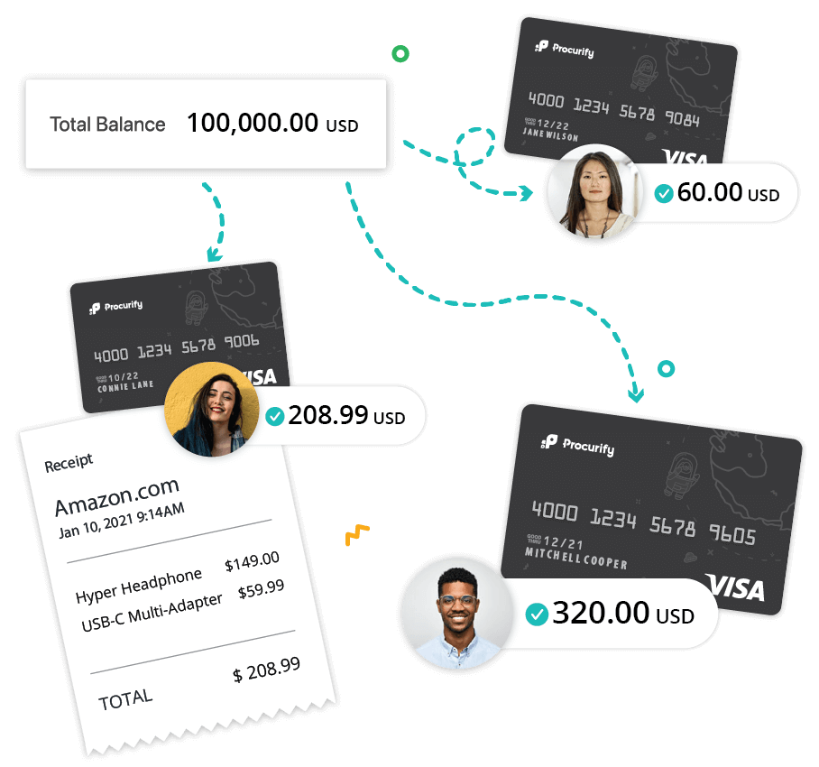 Illustration of two black credit cards and a receipt, depicting an expense management workflow on spending cards page