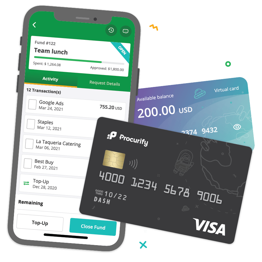 Illustration of a mobile phone and two credit cards, depicting spending cards on Procurify's mobile app