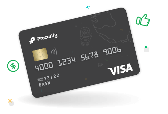 Illustration of a black credit card, used to depict Procurify's spending cards feature.