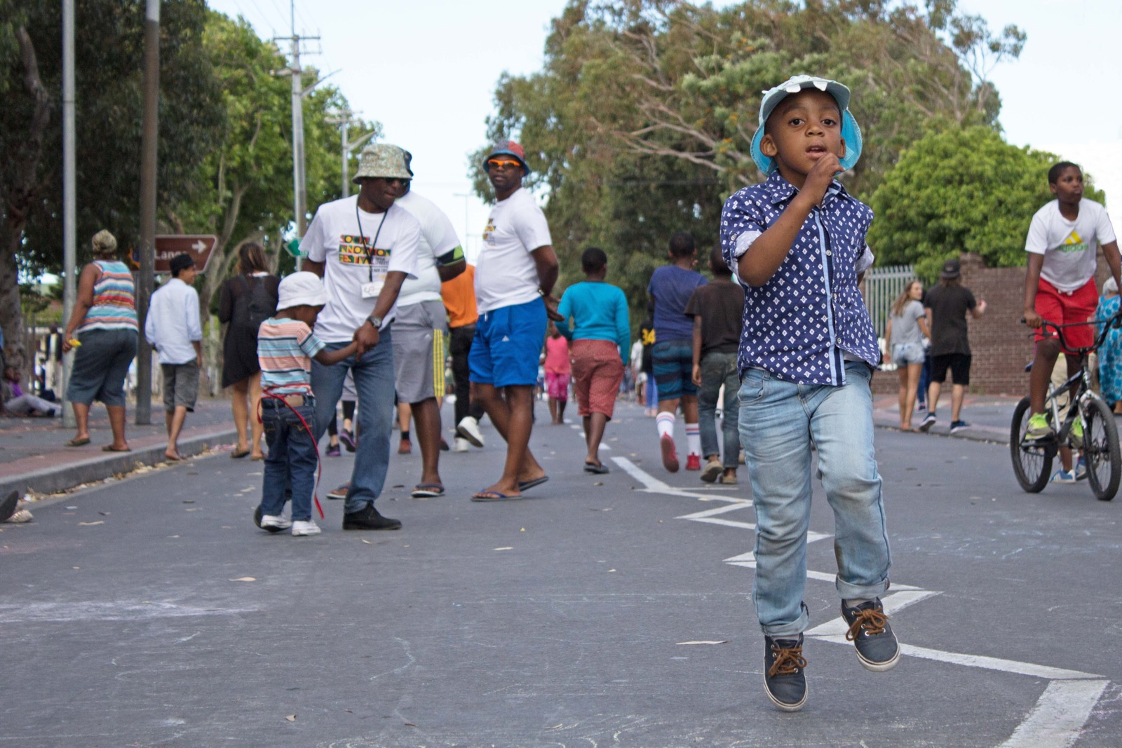 Kids play on the streets of Langa for Open Streets day.