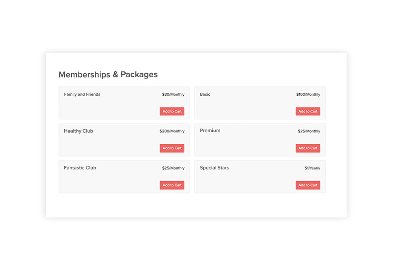 image of professional coaching memberships and packages in online shopping cart