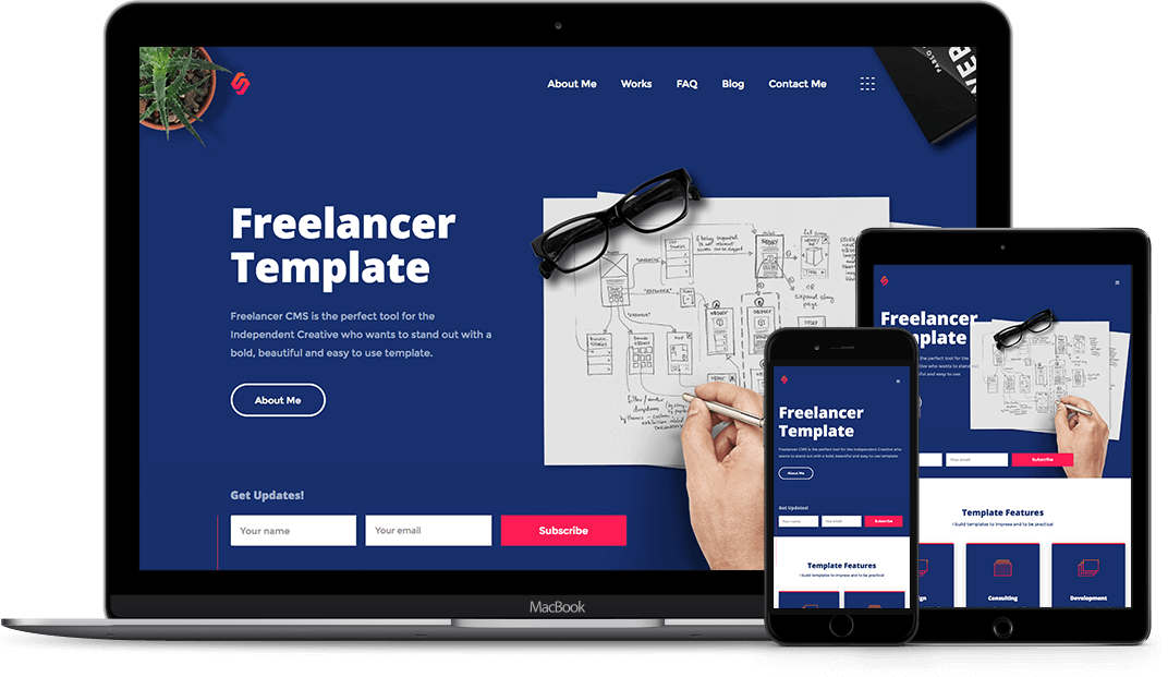 freelancer designer html5 responsive website template