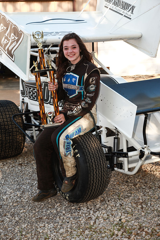 Bailey has won over $6,000 in a season and plenty of trophies while balancing school and racing. (Photo: Marc Rains)