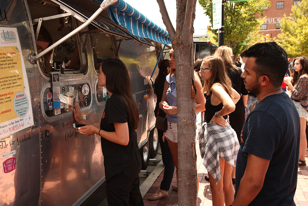 There are 14 regular vendors that bring their trucks to Food Truck Wednesdays, offering American food, Vietnamese, Italian, grilled cheese specials, hot dogs, crepes, gelato, smoothies, doughnuts and more. (Photo: Marc Rains)