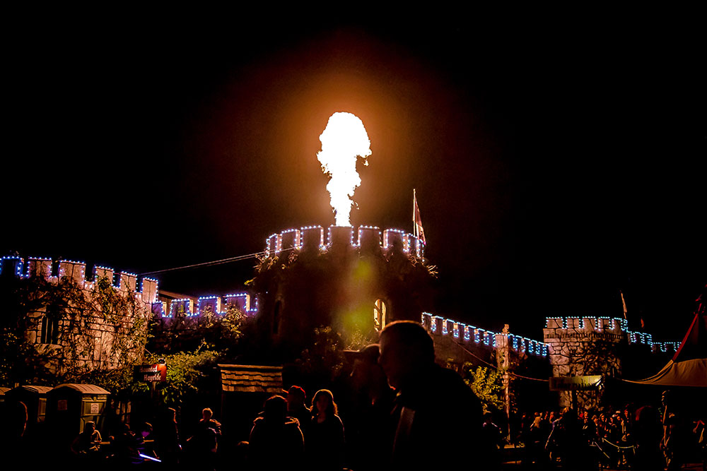 Set on 60 acres of woods, the Castle uses 14 of them as the village section of the festival, and the rest is utilized for haunts.
