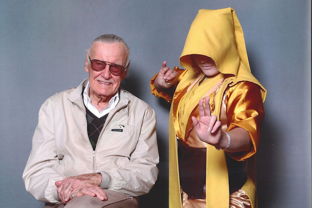 Yulia Garland as the Ancient One with Marvel's Stan Lee.