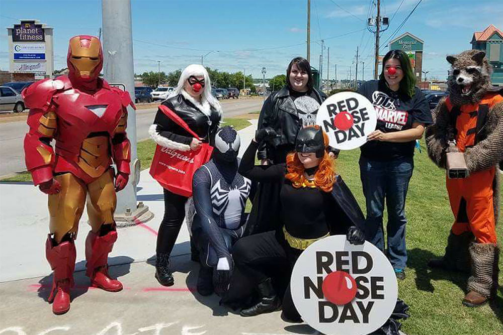 Members of the DC Marvel League supported Walgreens' Red Nose Day. (Photo: DC Marvel League)