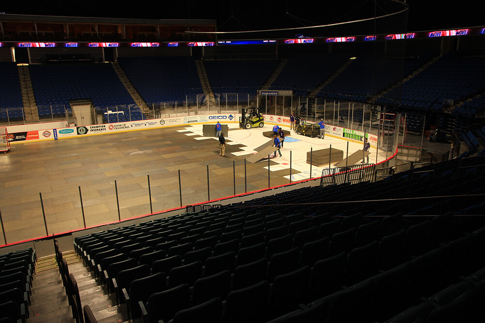 The process of converting the BOK Center ice surface to one ready for a concert takes about eight hours. (Photo: Marc Rains)