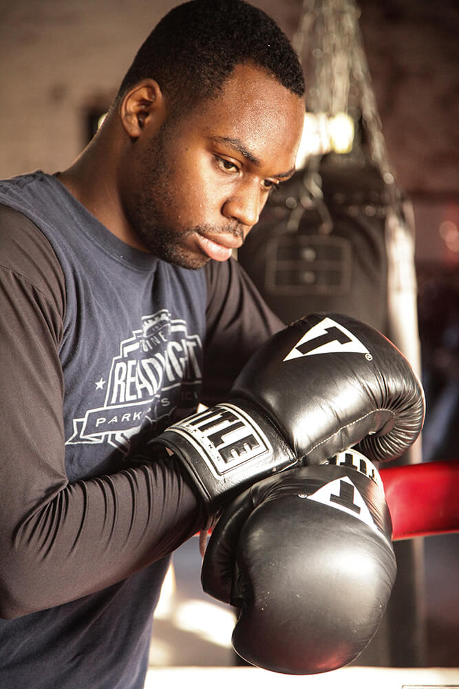 Andre Brown, who played basketball in high school, tried his hand at boxing a few times before beginning to pursue it seriously at 18. (Photo: Marc Rains)