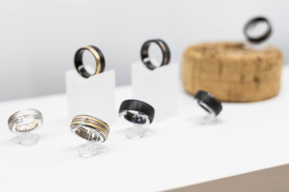 One of Spexton's specialties is their hand-crafted, contemporary-style wedding rings, made from materials like titanium, black zirconium, stainless steel, cobalt, meteorite and wood. (Photo: Valerie Grant)