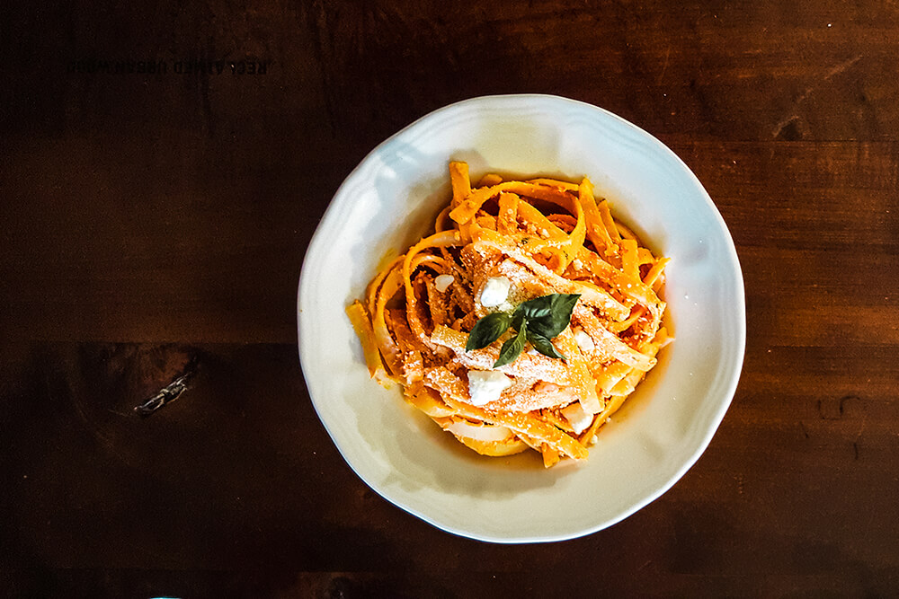 Roasted Red Pepper Fettuccini with Creamy Feta Sauce (Photo: Sarah Herrera)