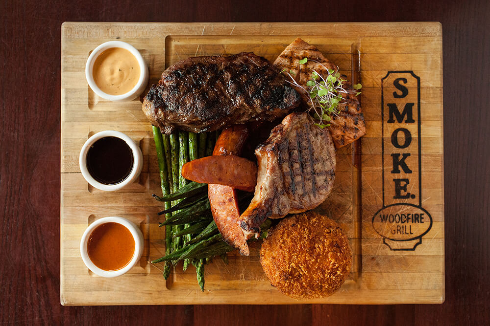 For a special treat, consider the Butcher Block. The selection changes, but it is always a hearty combination of meats including an 18-ounce rib-eye, 6-ounce center filet, a pork filet, salmon, and more.