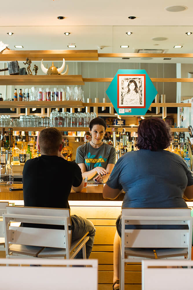 In addition to beer and wine, the well-stocked bar has tons of different rum, whiskey, vodka, and scotch options, as well as many different mixed drink choices. (Photo: Sarah Eliza Roberts)