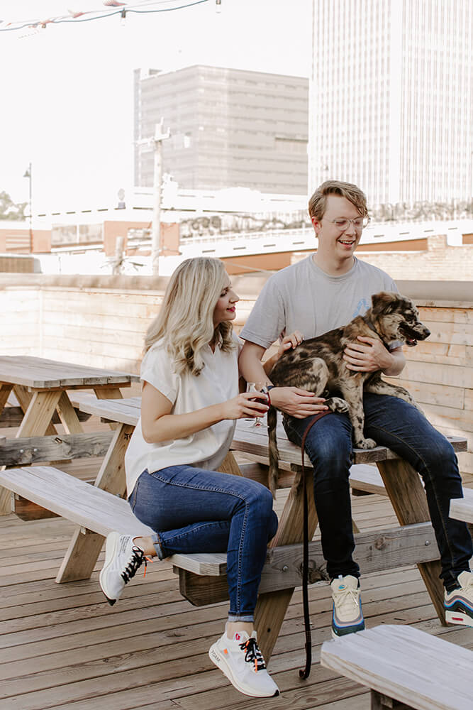 The taproom is a fun, vibrant place that is kid-friendly and even dog-friendly, with a rooftop patio and first-floor garage doors that open up to the sidewalk during beautiful weather. (Photo: Sarah Eliza Roberts)