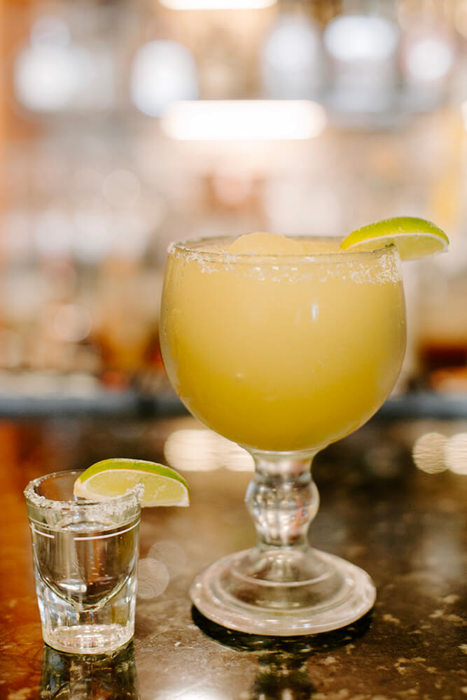 Besides a very nice selection of beers, tequila, and mezcal, there are tropical drinks and margaritas. On the rocks or frozen, the margaritas provide a tangy, sweet, or sour accompaniment to your meal. (Photo: Sarah Eliza Roberts)