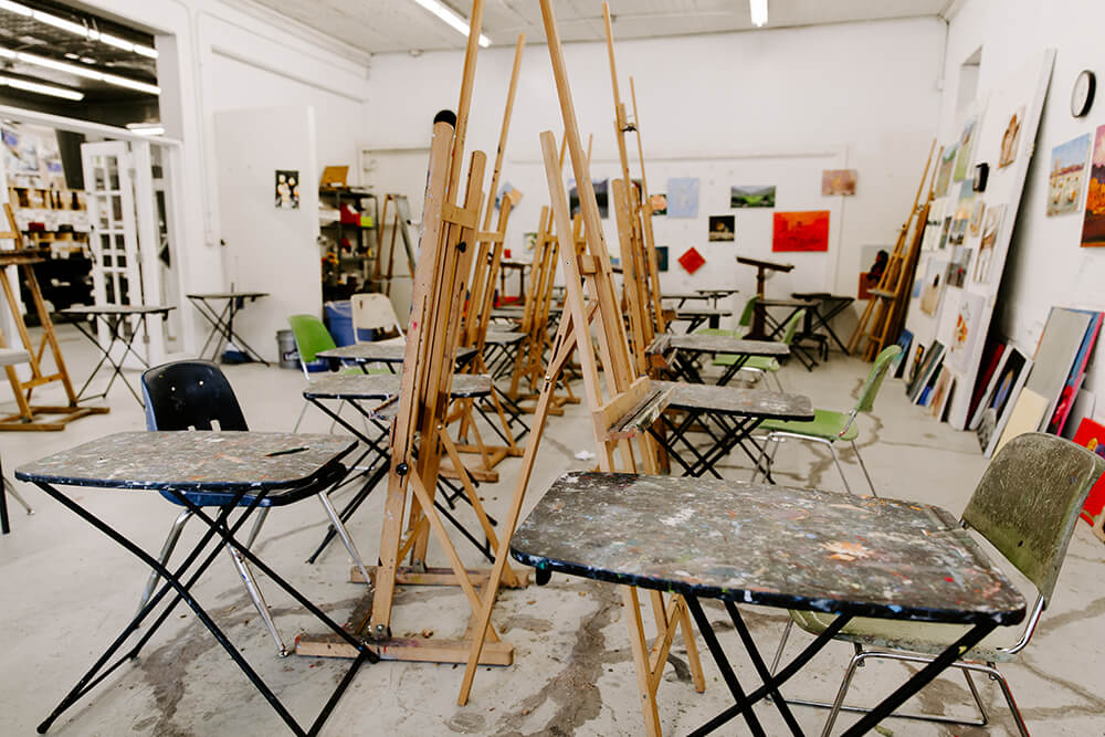 Ziegler loves having artists in the building, whether creating in the open studio space or teaching others the art of watercolor, oil painting, drawing, and more. (Photo: Sarah Eliza Roberts)