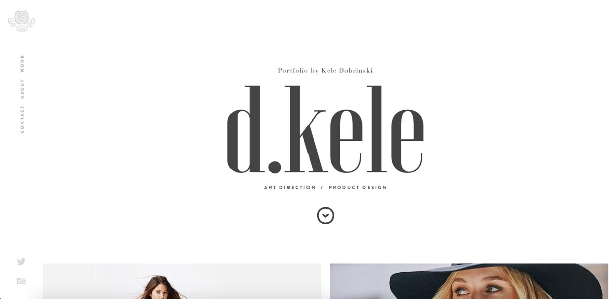 Hero section of Kele Dobrinski's portfolio website