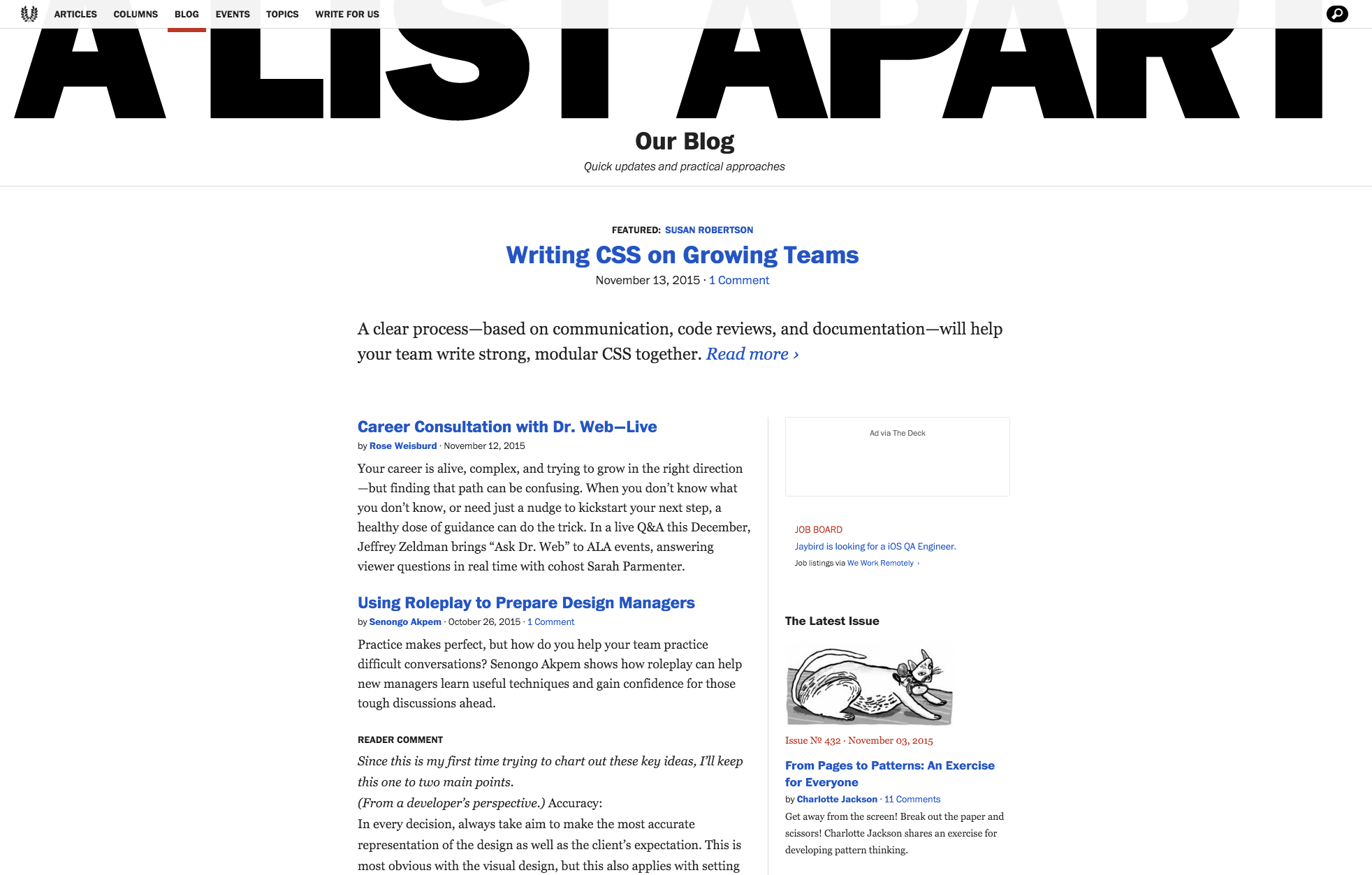 A List Apart's blog index page