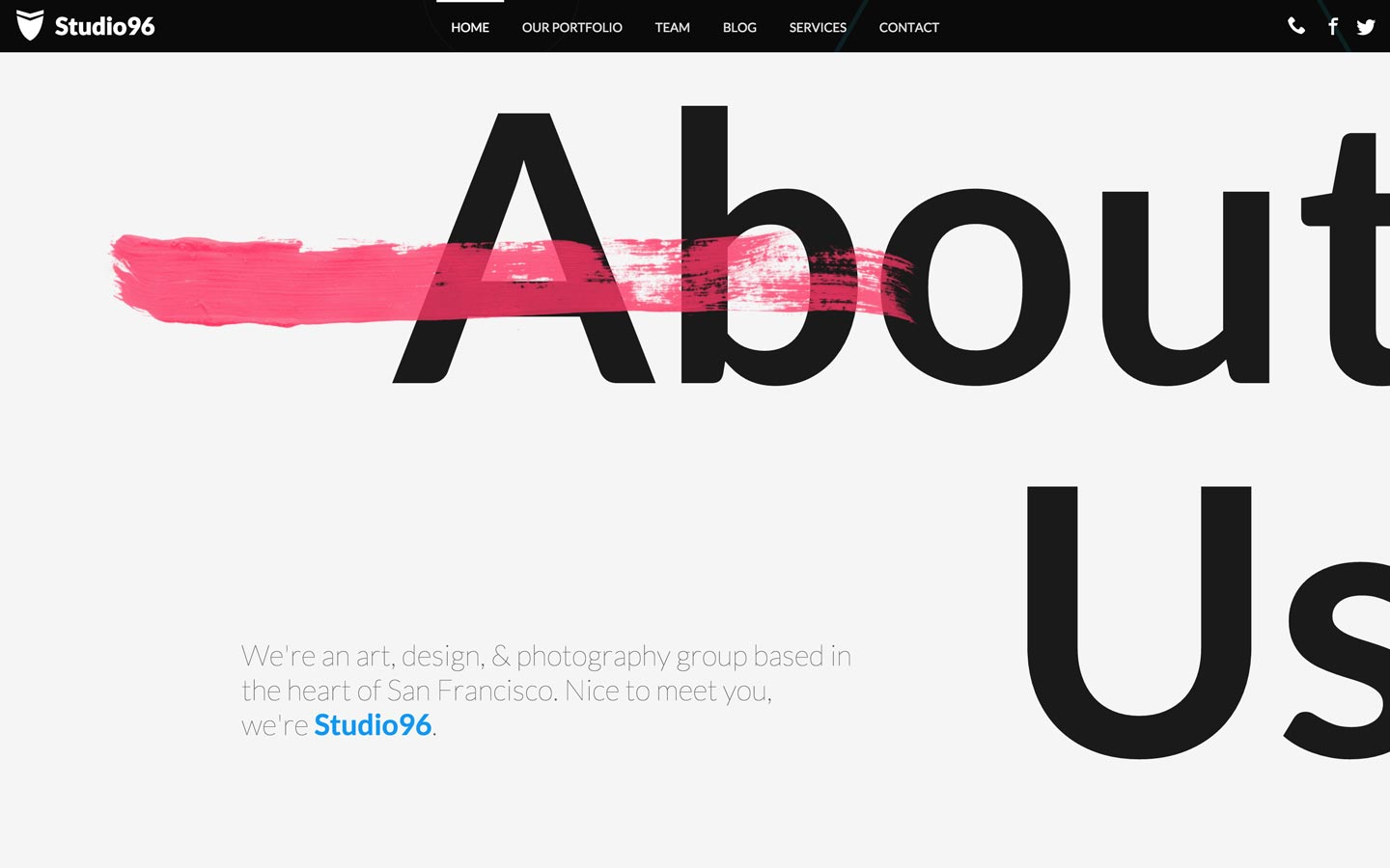 Large and small type on Studio 96 website template