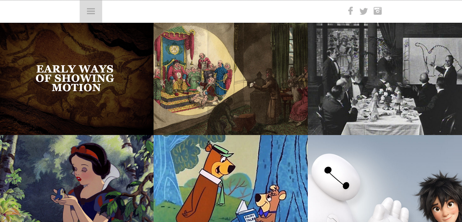 The History of Animation uses a grid of linked images as a navigation menu