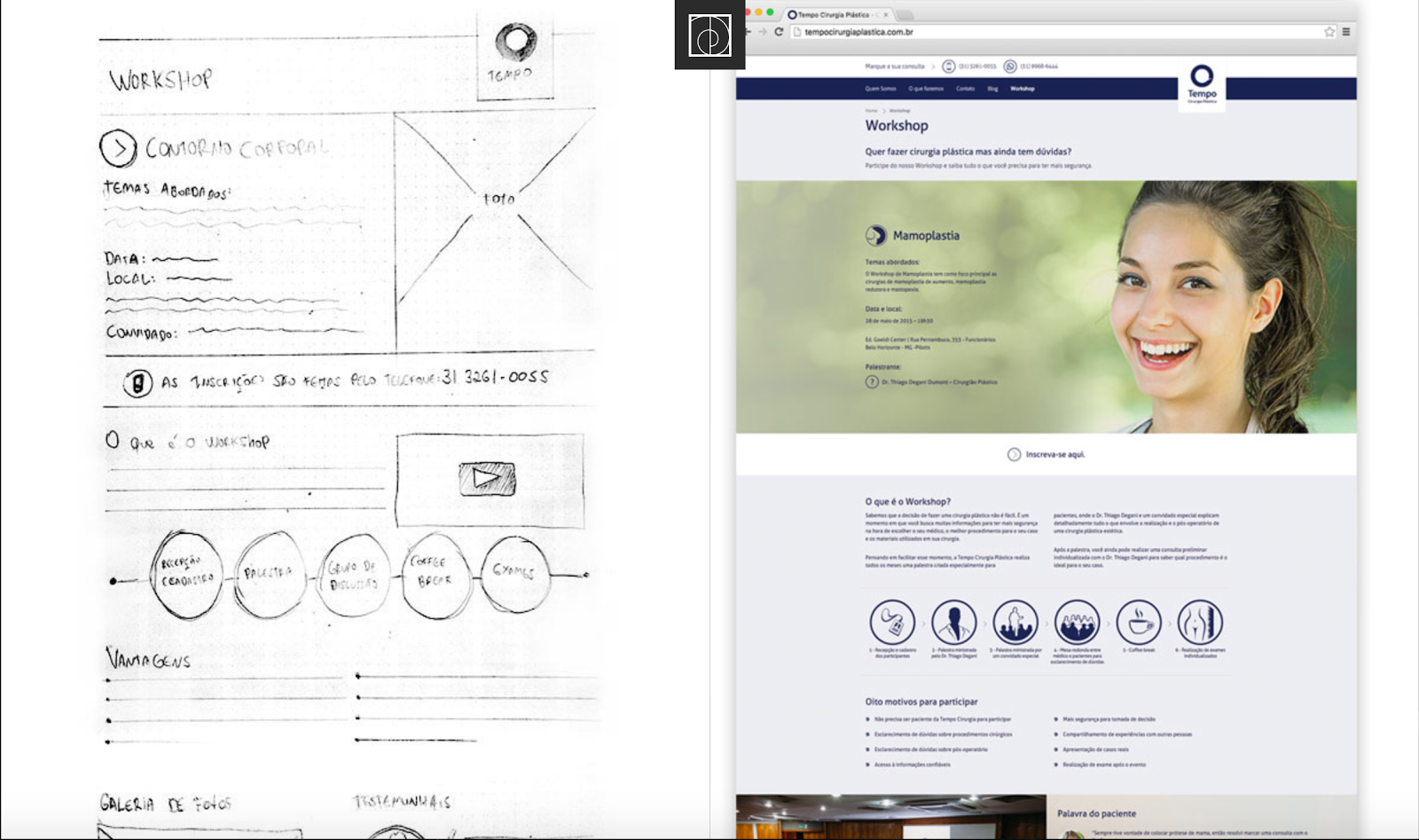 Showing various stages of your design process adds depth to your portfolio website