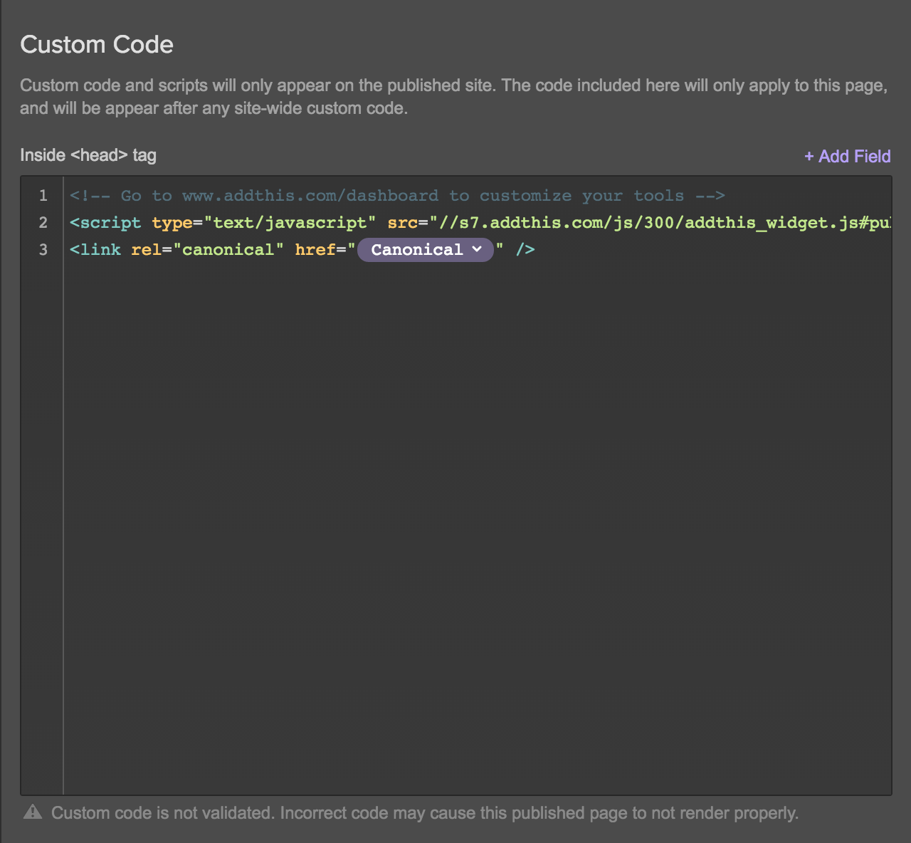 Use dynamic embeds in custom code to make Collection items canonical.