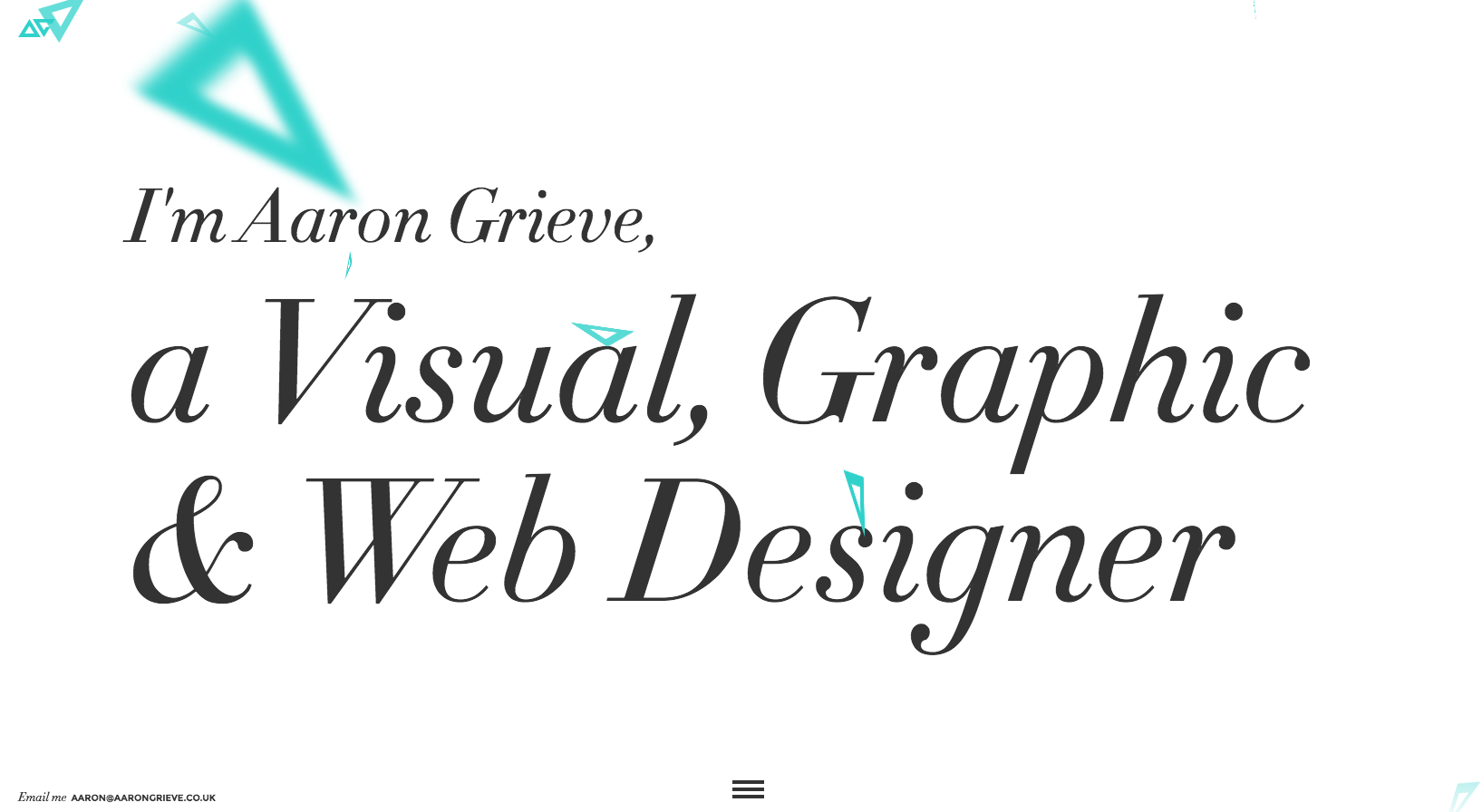 The homepage of Aaron Grieve's portfolio website