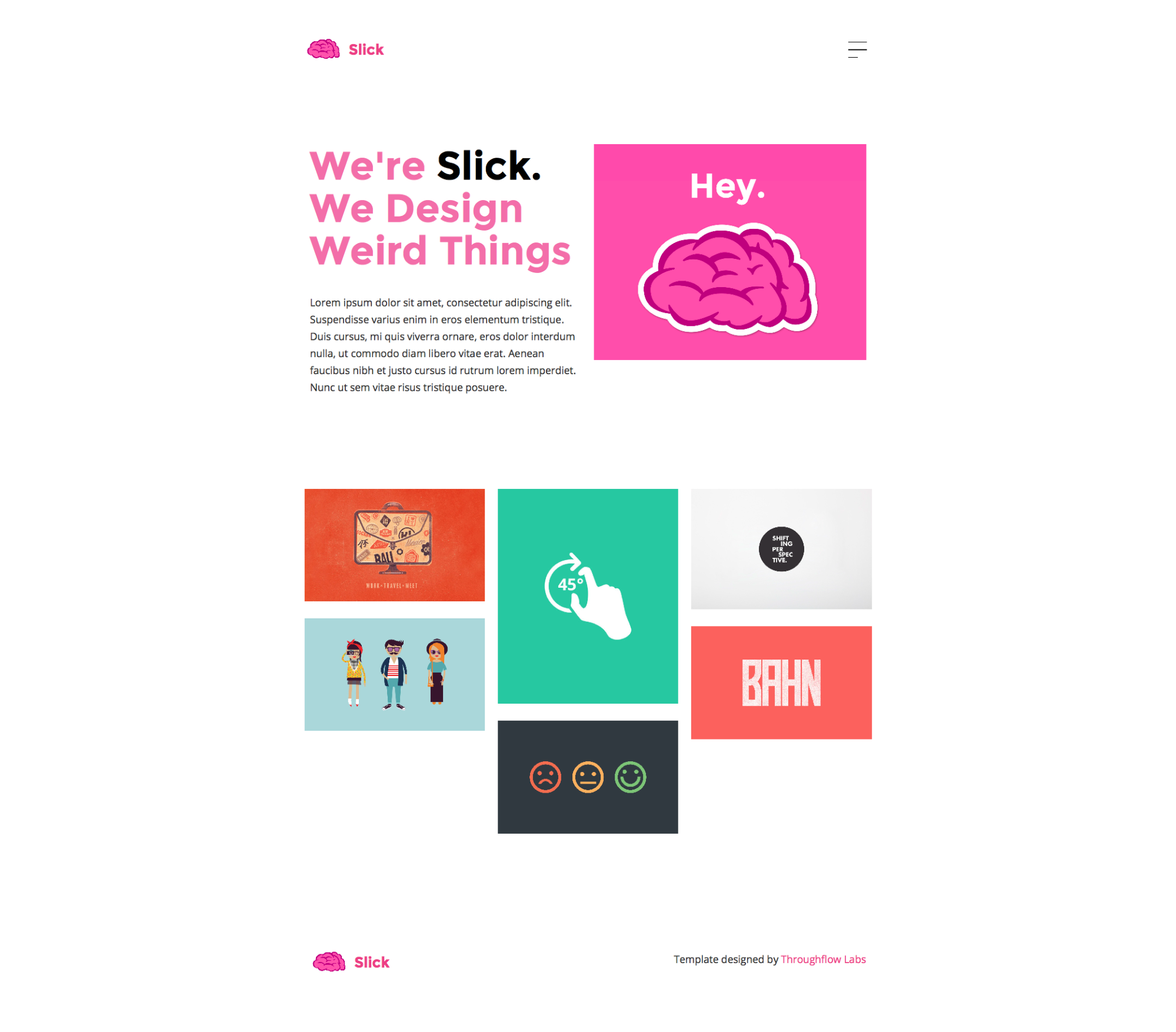 Homepage of the free Slick portfolio website template