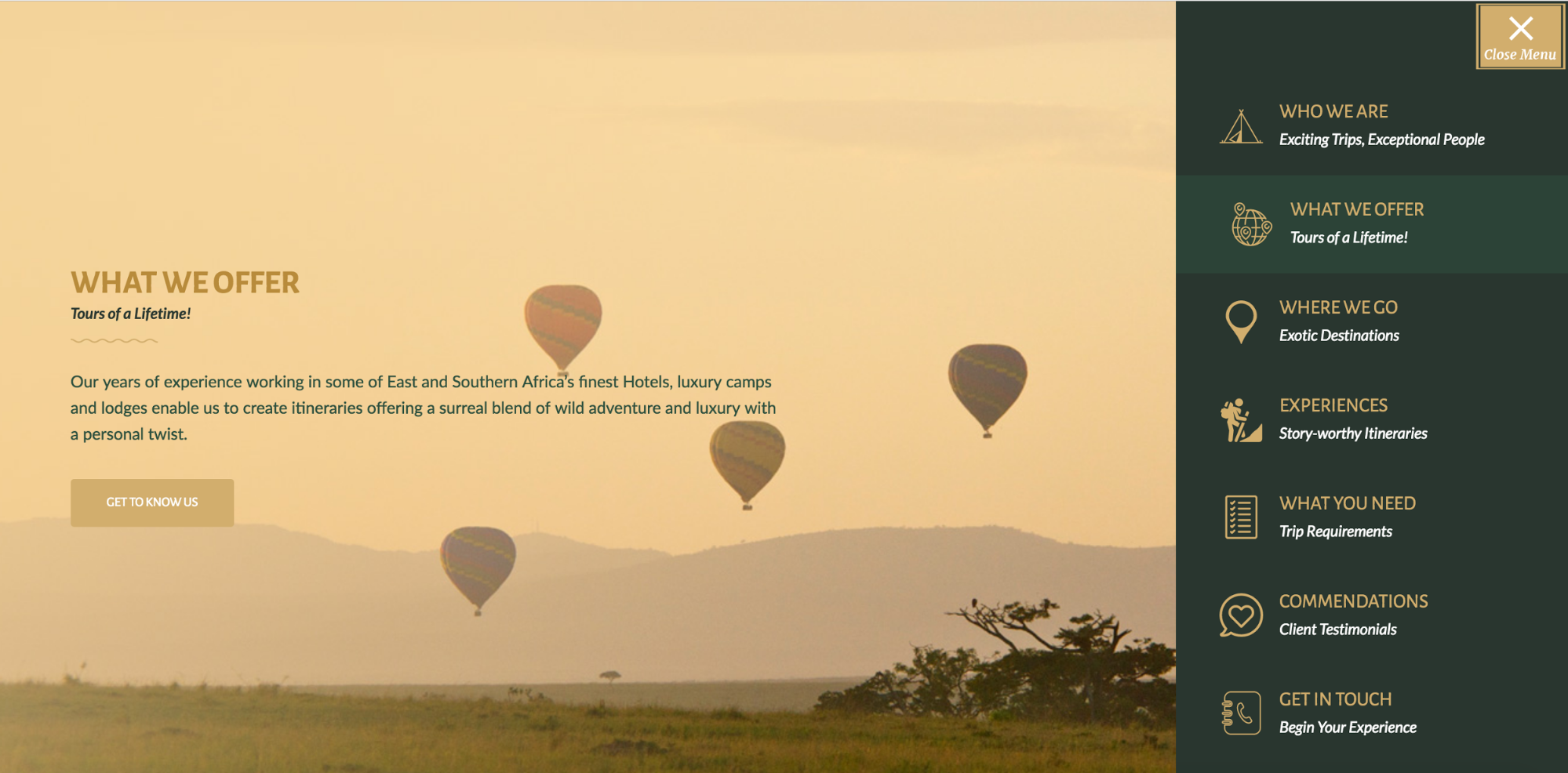 Endless Safaris' full-screen menu