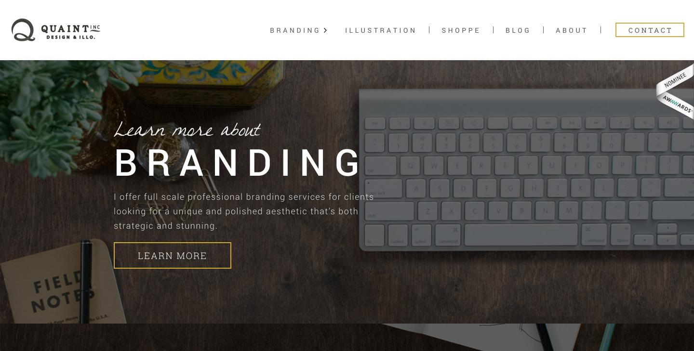 Quaint Inc. freelance portfolio website homepage