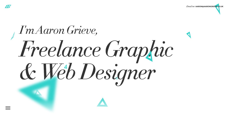 Aaron Grieve's portfolio website homepage