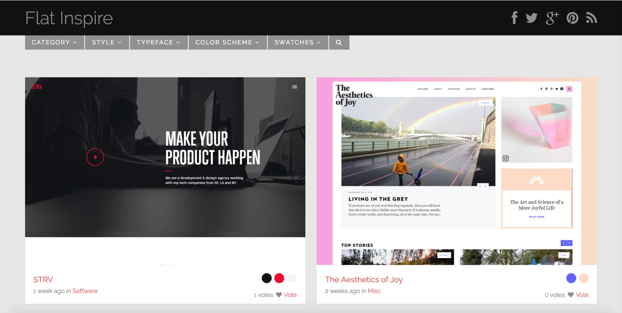 Flat Inspire curated web design site