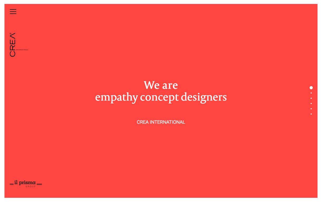 Crea Interantional website homepage