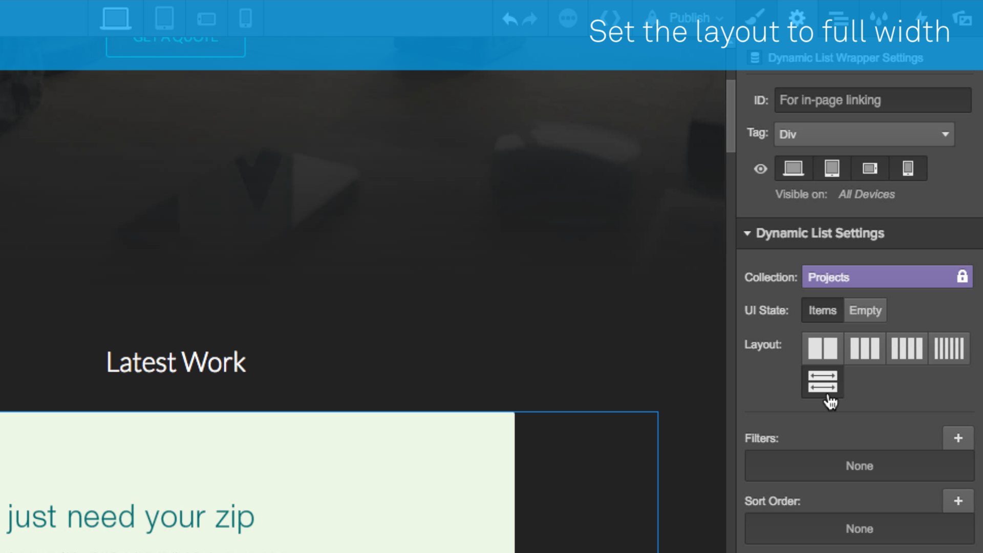 Set the dynamic list layout to full-width