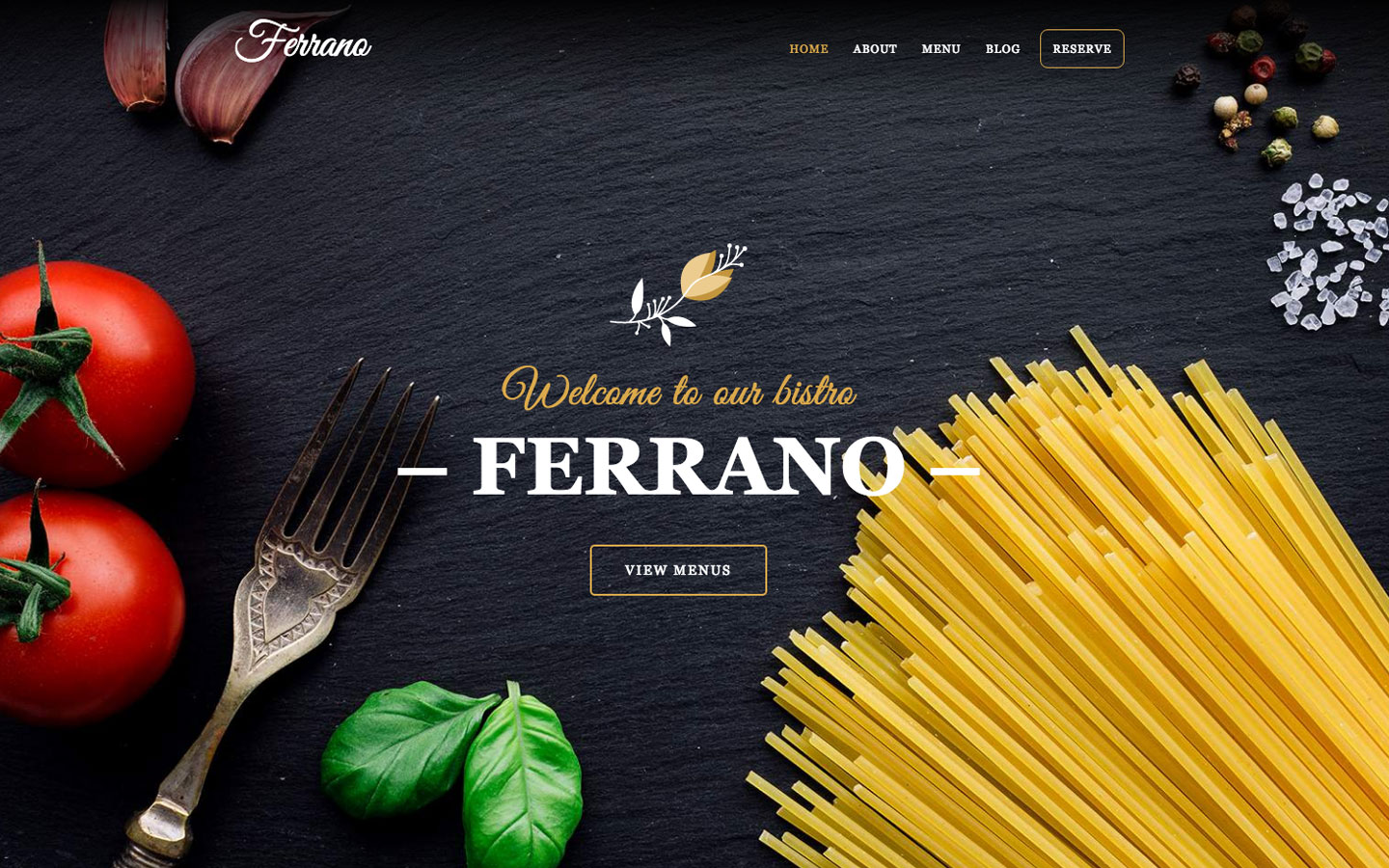 Ferrano CMS restaurant website template