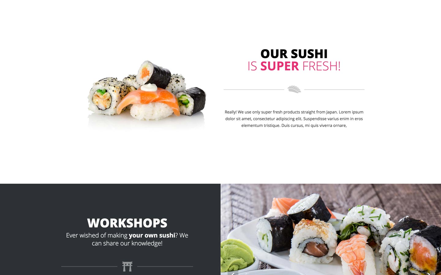 Zooshi restaurant website template