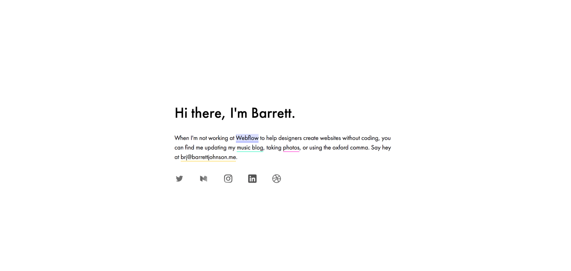 Barrett Johnson's portfolio website
