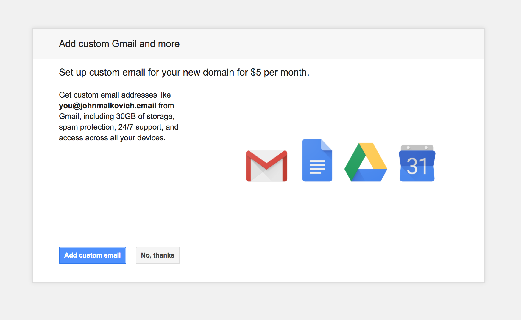 Set up GSuite when you register a new Google Domain
