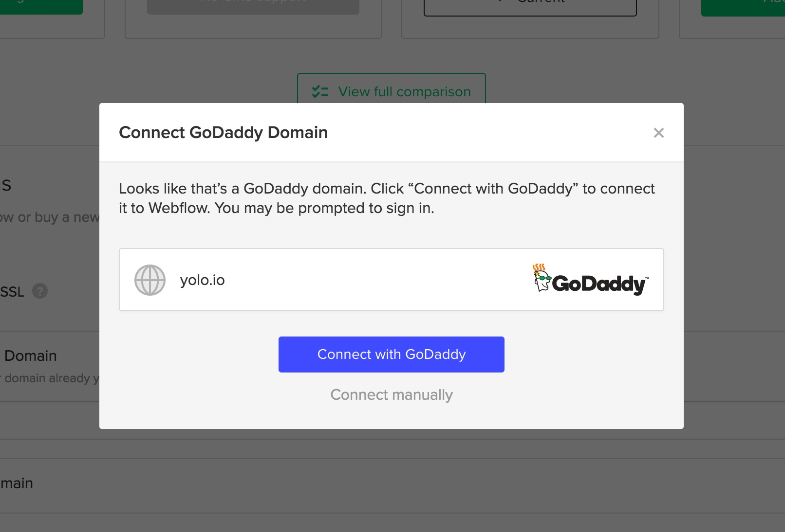 Click connect with GoDaddy to login to your account.