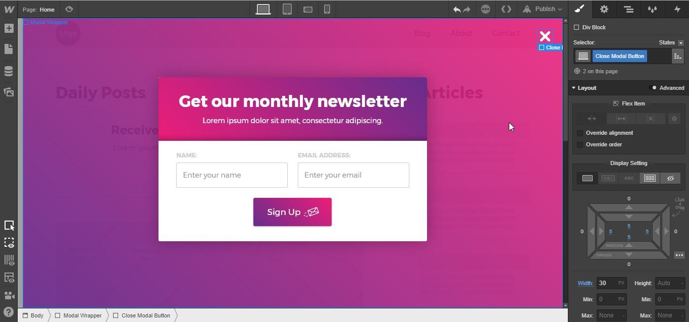 How to build a pop-up modal in Webflow | Webflow Blog