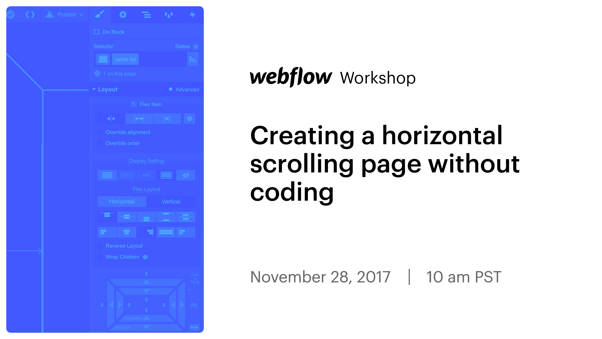 Creating a horizontal scrolling page without coding